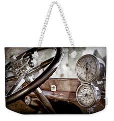 Weekender Tote Bag featuring the photograph 1914 Rolls-royce 40 50 Silver Ghost Landaulette Steering Wheel -0795ac by Jill Reger