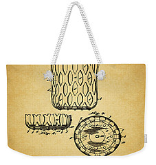 Weekender Tote Bag featuring the mixed media 1916 Pool Table Pocket Patent by Dan Sproul