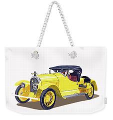 Weekender Tote Bag featuring the painting 1923 Kissel Kar  Gold Bug Speedster by Jack Pumphrey