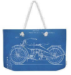 Weekender Tote Bag featuring the digital art 1924 Harley Motorcycle Patent Artwork Blueprint by Nikki Marie Smith