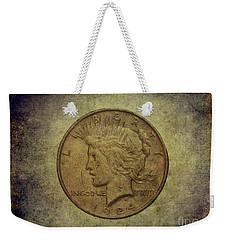 Weekender Tote Bag featuring the digital art 1924 Peace Silver Dollar by Randy Steele