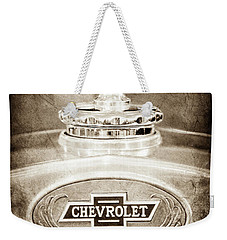 Weekender Tote Bag featuring the photograph 1928 Chevrolet 2 Door Coupe Hood Ornament Moto Meter -0789s by Jill Reger