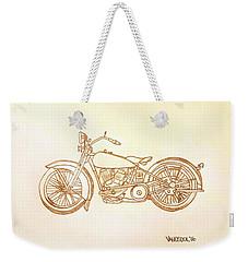 1928 Harley Davidson Motorcycle Graphite Pencil - Sepia Weekender Tote Bag