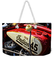 1928 Indian Scout Gas Tank Weekender Tote Bag by Mike Martin