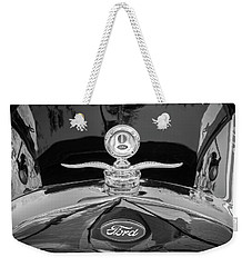 1929 Ford Model A Hood Ornament Bw Weekender Tote Bag by Rich Franco