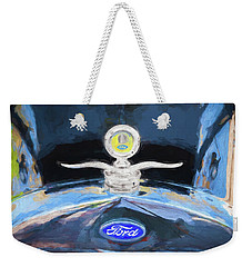1929 Ford Model A Hood Ornament Painted Weekender Tote Bag by Rich Franco
