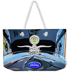 1929 Ford Model A Hood Ornament  Weekender Tote Bag by Rich Franco