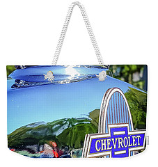 1930 Chevrolet Ad Hood Ornament Weekender Tote Bag