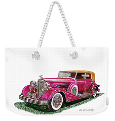 Weekender Tote Bag featuring the painting 1932 Cadillac All Weather Phaeton V 16 by Jack Pumphrey