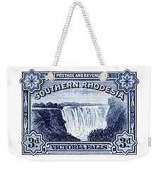 Weekender Tote Bag featuring the painting 1932 Southern Rhodesia Victoria Falls Stamp by Historic Image