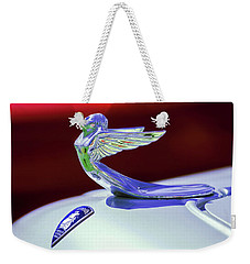 Weekender Tote Bag featuring the photograph 1933 Plymouth Hood Ornament -0121rc by Jill Reger