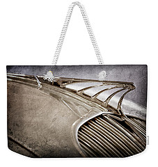 Weekender Tote Bag featuring the photograph 1934 Desoto Airflow Coupe Hood Ornament -2404ac by Jill Reger