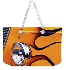 Weekender Tote Bag featuring the photograph 1934 Ford Custom Yellow Hot Rod by Baggieoldboy