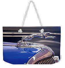 Weekender Tote Bag featuring the digital art 1934  Ford Greyhound Hood Ornament by Chris Flees