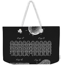 Weekender Tote Bag featuring the mixed media 1935 Tennis Ball Patent by Dan Sproul
