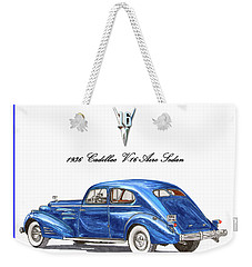Weekender Tote Bag featuring the painting 1936 Cadillac V-16 Aero Coupe by Jack Pumphrey