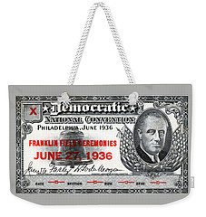 1936 Democrat National Convention Ticket Weekender Tote Bag by Historic Image