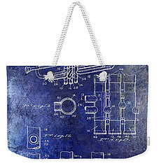 1939 Trumpet Patent Blue Weekender Tote Bag by Jon Neidert