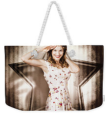 Weekender Tote Bag featuring the photograph 1940s Aviation Pinup Girl Wearing Military Fashion by Jorgo Photography - Wall Art Gallery