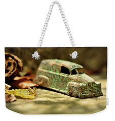 Weekender Tote Bag featuring the photograph 1940s Green Chevy Sedan Style Toy Car by Rebecca Sherman