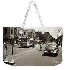 Weekender Tote Bag featuring the photograph 1940's Inwood Trolley by Cole Thompson
