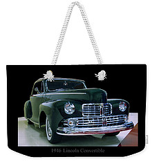 Weekender Tote Bag featuring the photograph 1946 Lincoln Convertible by Chris Flees