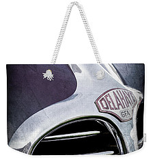 Weekender Tote Bag featuring the photograph 1947 Delahaye Emblem -1477ac by Jill Reger