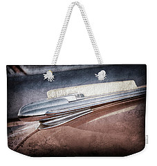 Weekender Tote Bag featuring the photograph 1948 Chevrolet Hood Ornament -0587ac by Jill Reger