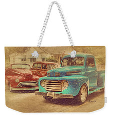 1950 Ford Truck Classic Cars - Homecoming Weekender Tote Bag by Rebecca Korpita