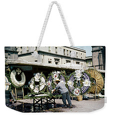 Weekender Tote Bag featuring the photograph 1950s Mexico City Funeral Wreaths by Marilyn Hunt
