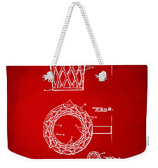 1951 Basketball Net Patent Artwork - Red Weekender Tote Bag