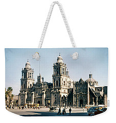 Weekender Tote Bag featuring the photograph 1951 Metropolitan Cathedral Mexico City by Marilyn Hunt