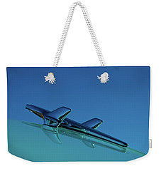 Weekender Tote Bag featuring the photograph 1956 Chevy Belair Hood Ornament by Jani Freimann