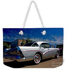 1957 Buick Century Weekender Tote Bag by Linda Bianic