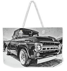 1957 Ford F100 In Black And White Weekender Tote Bag