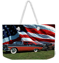 Weekender Tote Bag featuring the photograph 1958 Dodge Coronet And 1935 International Dragster by Tim McCullough
