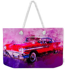 1958 Oldsmobile Hardtop With Continental Kit In Tow Weekender Tote Bag