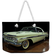 Weekender Tote Bag featuring the photograph 1959 Chevy Impala Convertible by Chris Flees