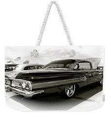 1960 Chevy Impala Weekender Tote Bag by Linda Bianic