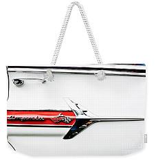 1960 Chevy Impala Logo Weekender Tote Bag by Linda Bianic