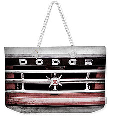 Weekender Tote Bag featuring the photograph 1960 Dodge Truck Grille Emblem -0275ac by Jill Reger