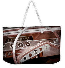Weekender Tote Bag featuring the photograph 1961 Chevrolet Impala Ss Steering Wheel Emblem -1156ac by Jill Reger