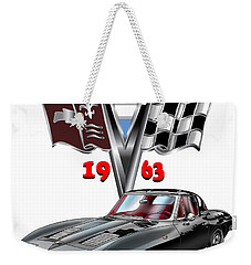 Weekender Tote Bag featuring the mixed media 1963 Corvette With Split Rear Window by Thomas J Herring