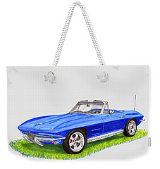 Weekender Tote Bag featuring the painting 1964 Corvette Stingray by Jack Pumphrey