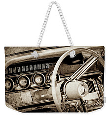 Weekender Tote Bag featuring the photograph 1964 Ford Thunderbird Steering Wheel -0280s by Jill Reger
