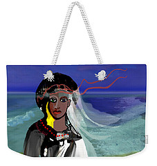 Weekender Tote Bag featuring the digital art 1965 - Walk On The Oceanside by Irmgard Schoendorf Welch
