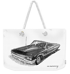 Weekender Tote Bag featuring the drawing 1965 Thunderbird Convertible By Ford by Jack Pumphrey