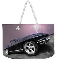 1966 Corvette Stingray With Lightning Weekender Tote Bag