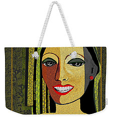 Weekender Tote Bag featuring the digital art 1966 - Lady With Beautiful Teeth by Irmgard Schoendorf Welch