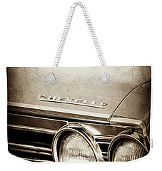 Weekender Tote Bag featuring the photograph 1967 Chevrolet Chevelle Ss Super Sport Emblem -0413s by Jill Reger